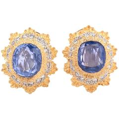 Buccellati Blue Sapphire Yellow Gold Clip-Back Earrings