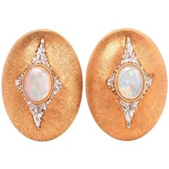 Mario Buccellati Opal Diamond Gold Earrings