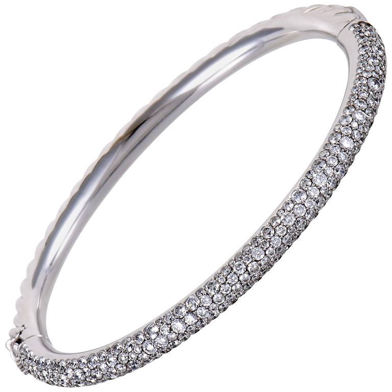 David Yurman Diamond Pave White Gold Bangle Bracelet 1