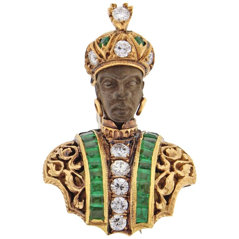 Nardi Emerald Diamond Gold Blackamoor Brooch 1