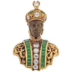 Nardi Emerald Diamond Gold Blackamoor Brooch