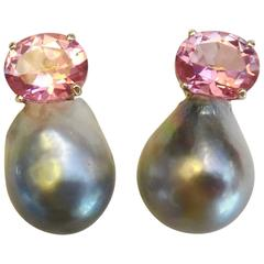Michael Kneebone Pink Topaz Baroque Tahitian Pearl Earrings