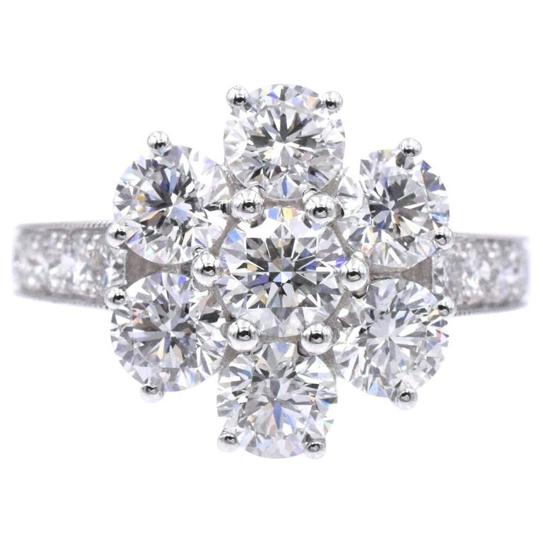 Graff Diamond Flower White Gold Ring  For Sale
