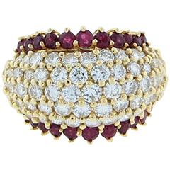Park Place Antique Jewelry Classic Natural Ruby And Diamond Dome Ring