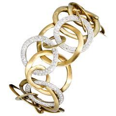 Pomellato Piatta Diamond Gold Link Bracelet