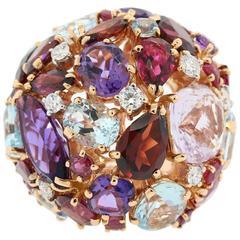 Medley of Color Gem Stones Rose Gold Ring