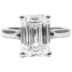 Tiffany & Co. 3.09 Carat Emerald Cut Solitaire Platinum Ring GIA Certified