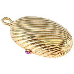 Bulgari Cabochon Ruby Gold Ribbed Melon Pill Box