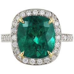 C. Dunaigre Certified 4.27 Carat Colombian Emerald Ring