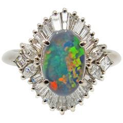 Black Opal Triplet Diamond Platinum Ballerina Setting Ring