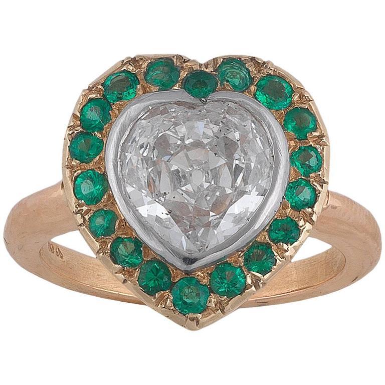 1905s Heart Diamond Green Garnet Cluster Ring