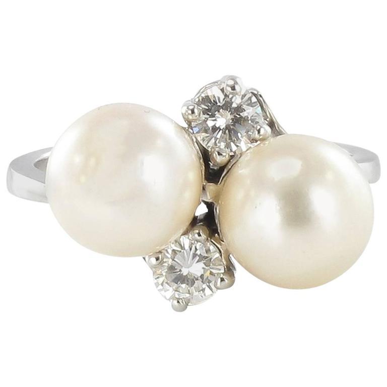 Modern French Pearl Diamond White Gold Ring