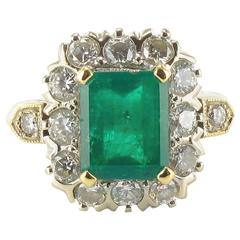1970s French 2.20 Carat Emerald Diamond Gold Ring