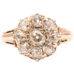 Victorian 2.10 Carat Diamond Cluster Engagement Yellow Gold Ring