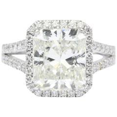 GIA Certified 5.05 Carat Radiant Diamond Platinum Engagement Ring