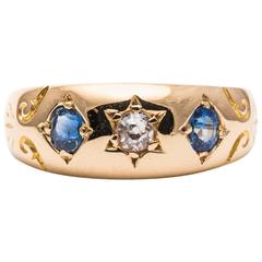 Edwardian Star of David Diamond and Sapphire Trilogy Gold Ring