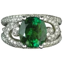 Green Peridot Diamonds White Gold Ring