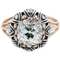 Unique Antique Old Mine Cut Diamond Ring