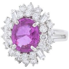Pink Sapphire Diamond Platinum Cluster Ring
