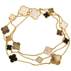Van Cleef & Arpels Mother-of-Pearl Gold Magic Alhambra 16 Motif Long Necklace