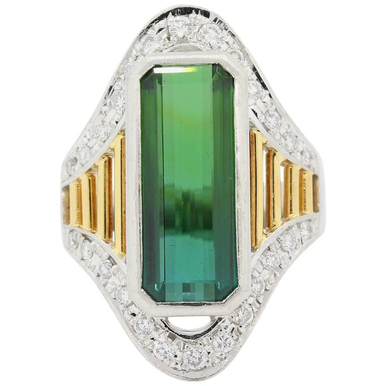 Tourmaline Diamond Platinum and Gold Ring For Sale