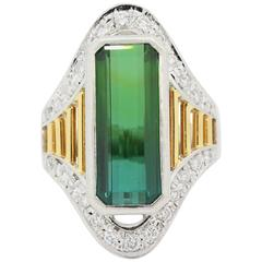 Tourmaline Diamond Platinum and Gold Ring