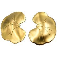 Unique Janet Mavec Gold Lotus Leaf Earclips