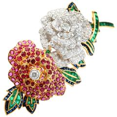 Magnificent Gemstone and Diamond Brooch