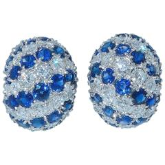 Fine Sapphire Diamond Gold Earrings