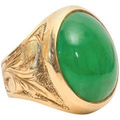 1950s Jade Yellow Gold Ring