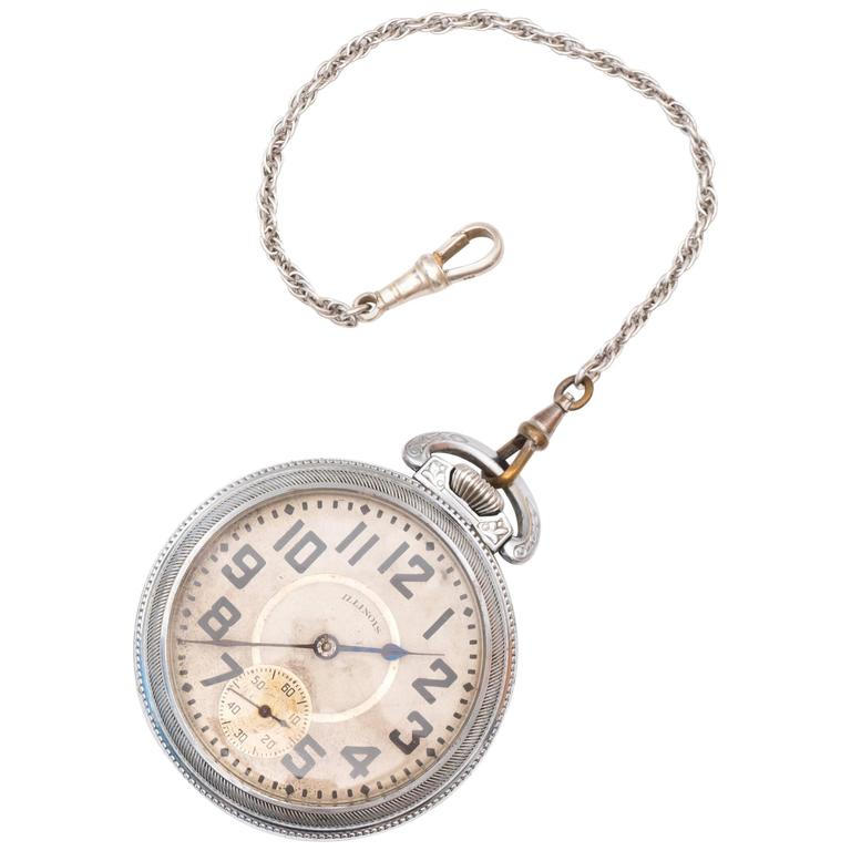1900s Edwardian Illinois Railroad Pocket Watch  For Sale