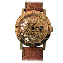 Bulgari Yellow Gold Automatic Skeleton Case Wristwatch