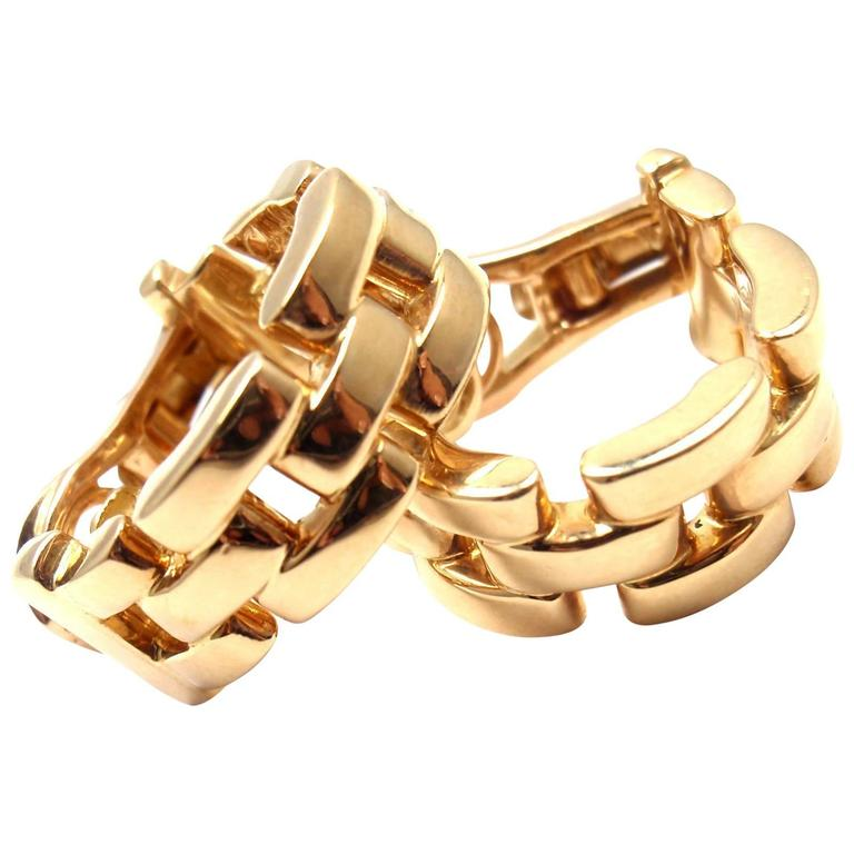 b472333e560cf Cartier Maillon Panthere Yellow Gold Hoop Earrings