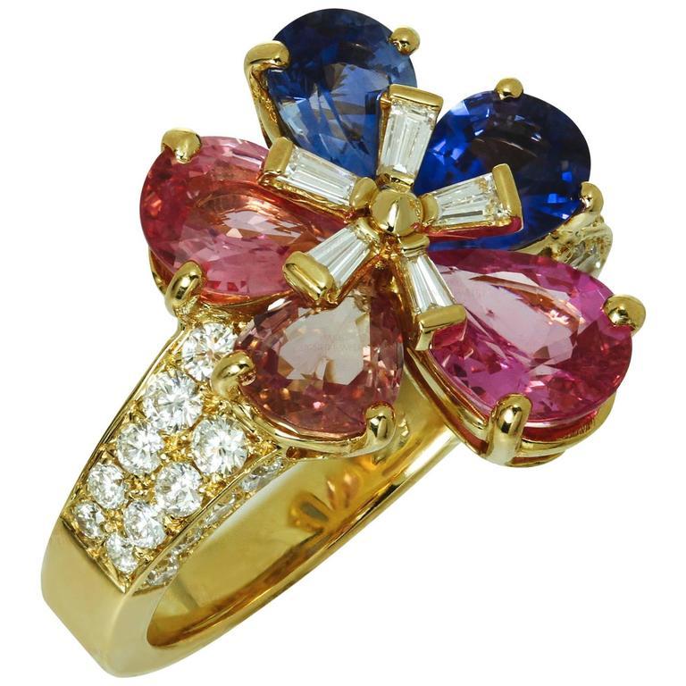 Sapphire And Diamond Checkered Ring