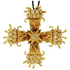 Tiffany & Co. Schlumberger Maltese Cross Diamond Yellow Gold Brooch Pendant