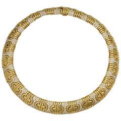 Bulgari Parenthesis Diamond Yellow Gold Necklace