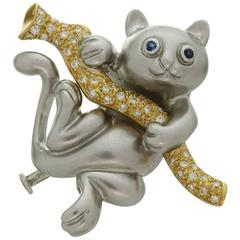 Blue Sapphire Diamond White Yellow Gold Cat on Branch Brooch Pendant