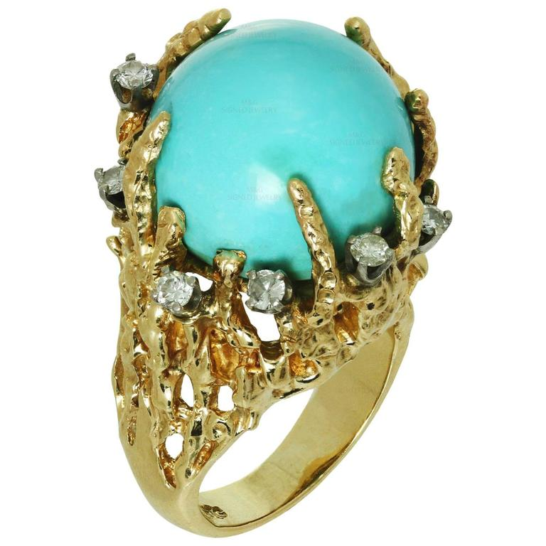 1960s Turquoise Diamond Nugget Yellow Gold Ring 1