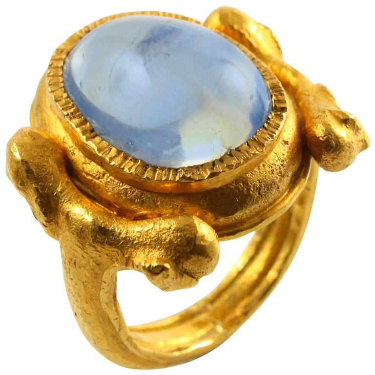 Large Natural Sapphire Artisan Gold Ring by Wolfgang Skoluda 1