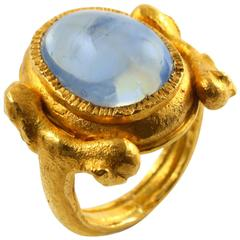 Large Natural Sapphire Artisan Gold Ring by Wolfgang Skoluda