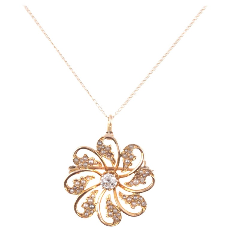 Edwardian .50 Carat Diamond and Seed Pearl Flower Necklace in Yellow Gold