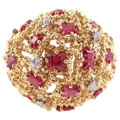 Two-Tone Large Ruby and Diamond Ring
