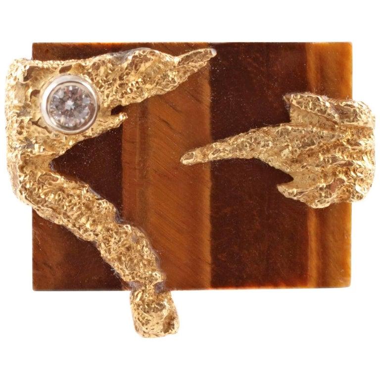 Tigers Eye Diamond Yellow Gold Ring