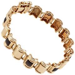 Onyx Yellow Gold Link Bracelet