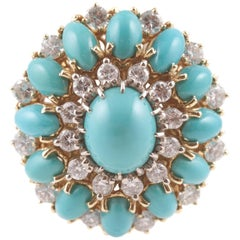 Natural Turquoise Diamond Yellow gold Ring