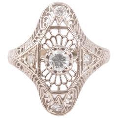 Art Deco Diamond Gold Filigree Engagement Ring