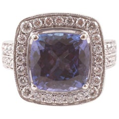 4.74 ct Tanzanite Diamond White Gold Ring