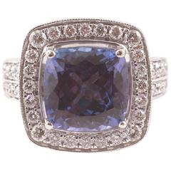 4.74 ct Tanzanite Diamond White Gold Ring