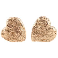 Yellow Gold Telleen Textured Heart Earrings