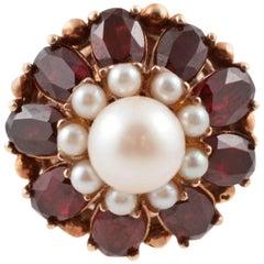 Cultured Pearl Garnet Gold Ring